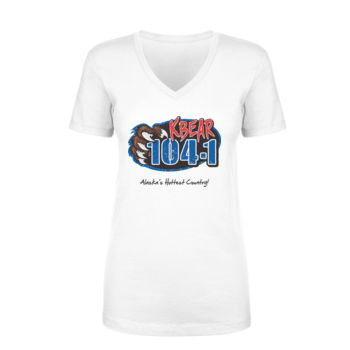 KBEAR LOGO - LADIES S/S V-NECK TEE - WHITE Thumbnail