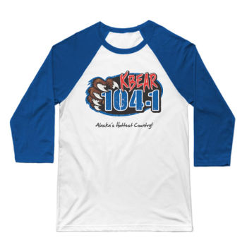 KBEAR LOGO - 3/4 SLEEVE BASEBALL TEE - WHITE/BLUE Thumbnail