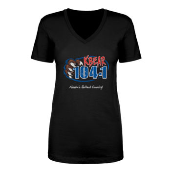 KBEAR LOGO - LADIES S/S V-NECK TEE - BLACK Thumbnail